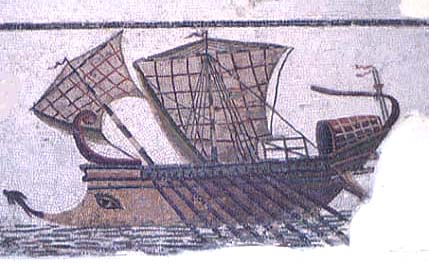 Mosaik of an ancient boat in Sousse-Tunesia - credit: Per Akesson